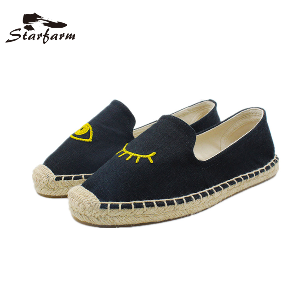 2017 STARFARM Women Shoes Woman Flats Hemp Canvas Shoes Rope Sole Casual Handmade Sewing Espadrille back to school Shoes vintage embroidery women flats chinese floral canvas embroidered shoes national old beijing cloth single dance soft flats