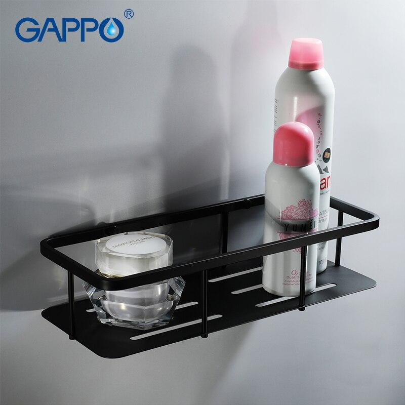 GAPPO Bathroom Shelves Black Holder Cup Holders Shelf Wall Mounted Bath Hardware Accessories Hanging Storage Rack Hanger sticker