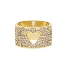 Женское кольцо в виде сердца из прозрачного кубического циркония