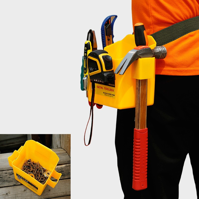 Multifunction Tool Box Portable Hanging Waist Bag Hammer Wrench Maintenance Box Woodworking Box With Adjustable Belt