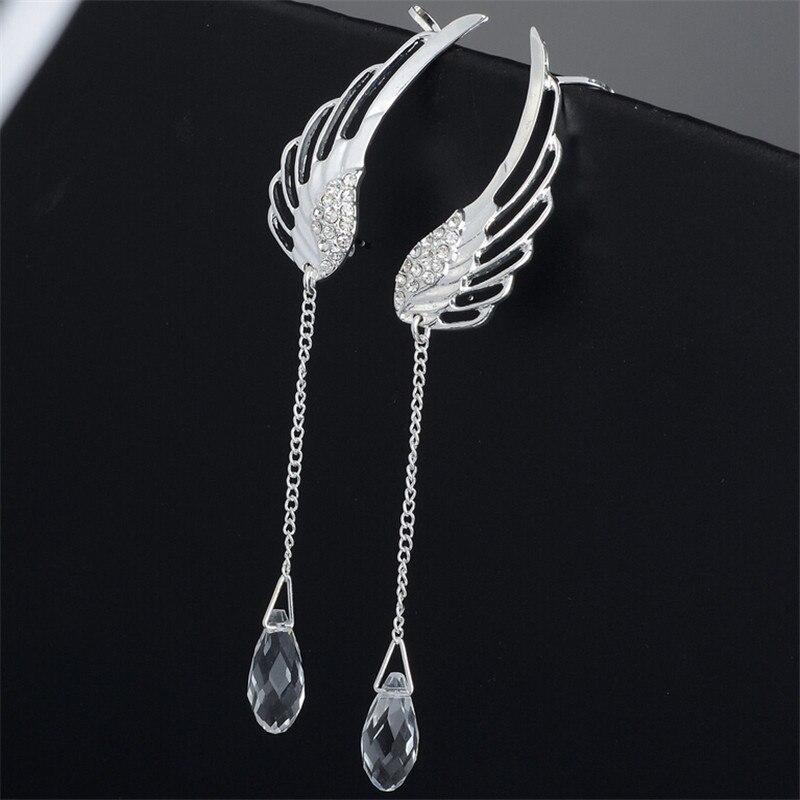 Silver Plated Angel Wing Stylist Crystal Earrings Drop Dangle Ear Stud For Women Long Cuff Earring Er623 In Clip From Jewelry Accessories On