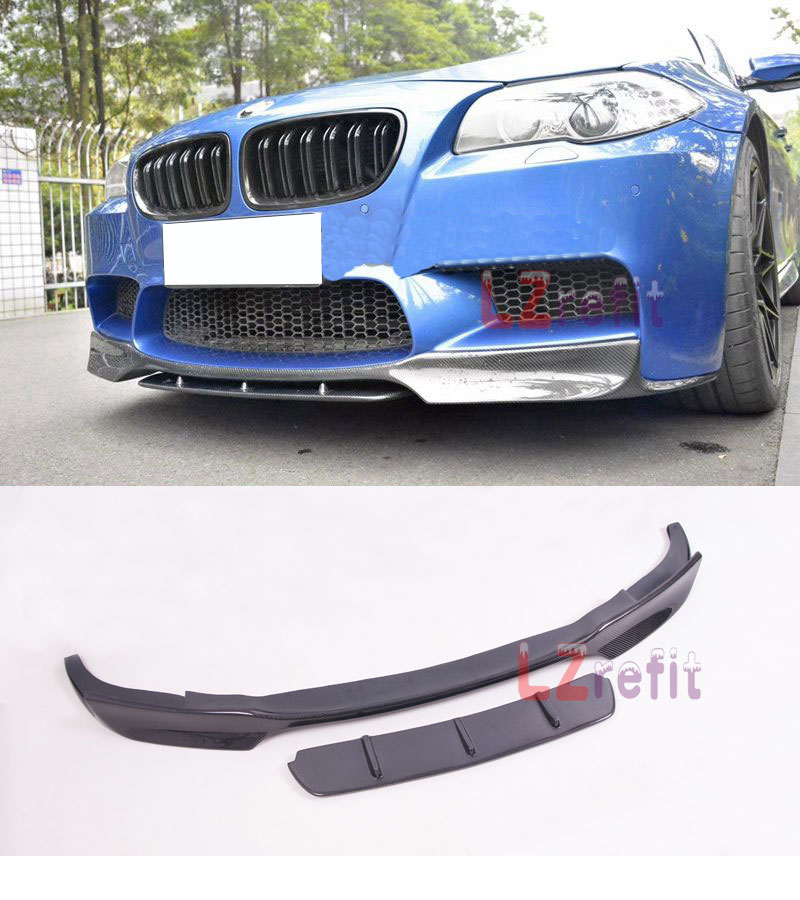 Real Carbon Fiber Front Bumper Lip Spoiler Splitte For BMW F10 M5 2012 2017