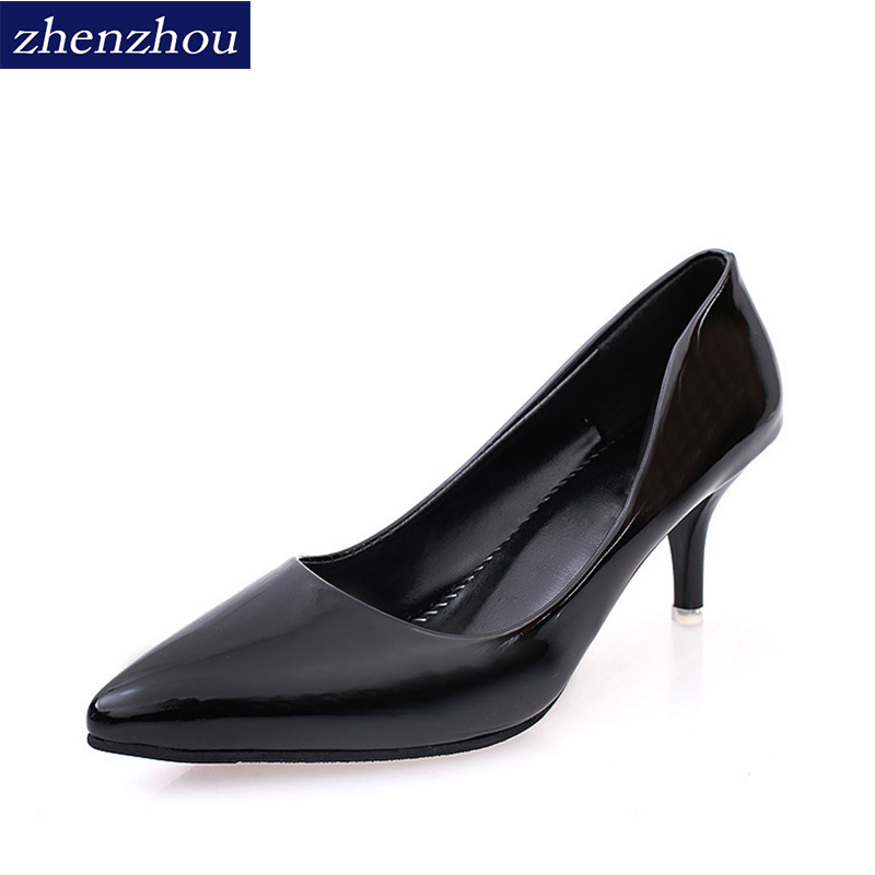 Women's shoes in the fall of 2017 han version of the pointed head of a single shoe girl 6cm fine heels new fashion trend leaders qiu dong season with plush slippers female students in the summer of 2017 the new han edition joker fashion wears outside a word