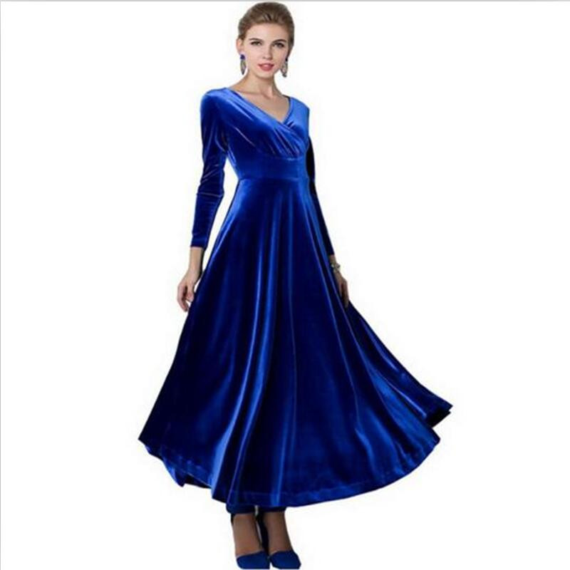 Весна для женщин; Большие размеры Вельветовое платье Макси платья с длинным рукавом Вечеринка Винтаж aut платье цвет: черный, синий зеленый ф