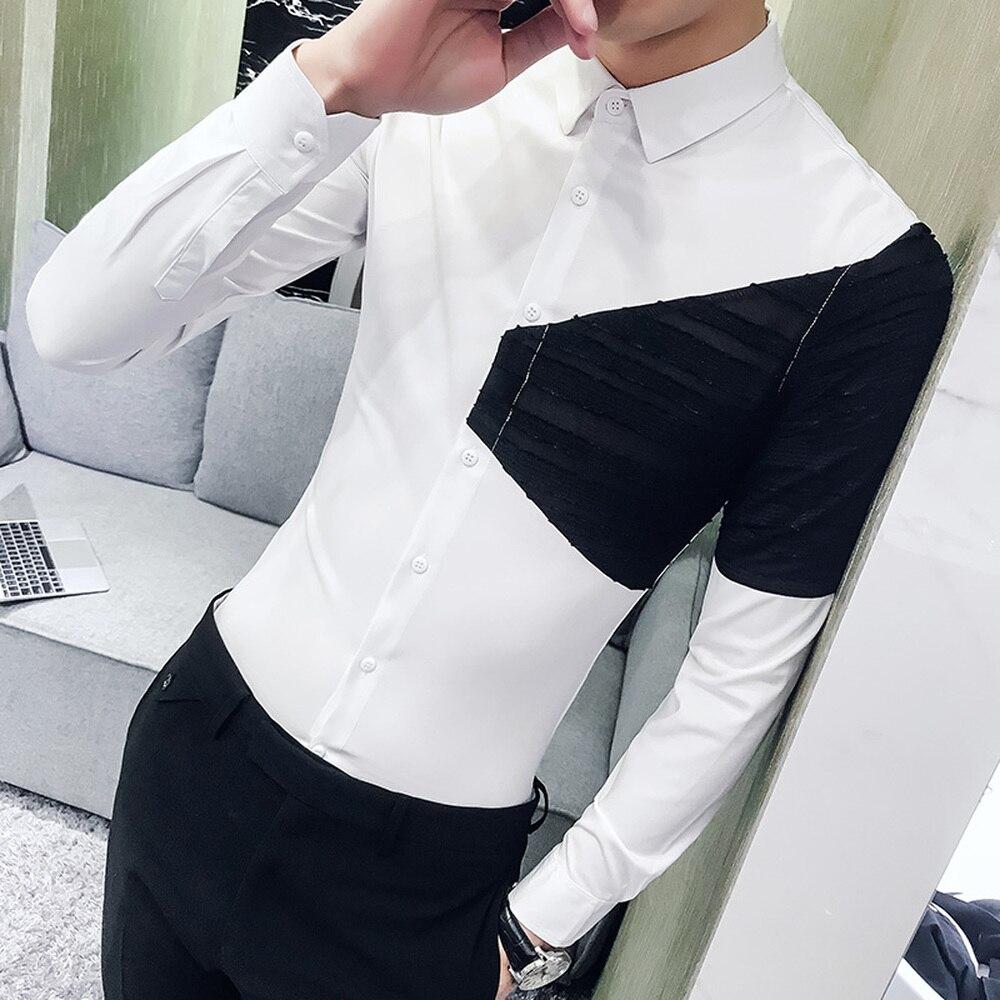 Hot Sale Men Spring Shirt 2018 Korean Patchwork Design Shirt Dress Men Slim Fit Long Sleeve Casual Night Club Social Shirts Male in Casual Shirts from Men 39 s Clothing