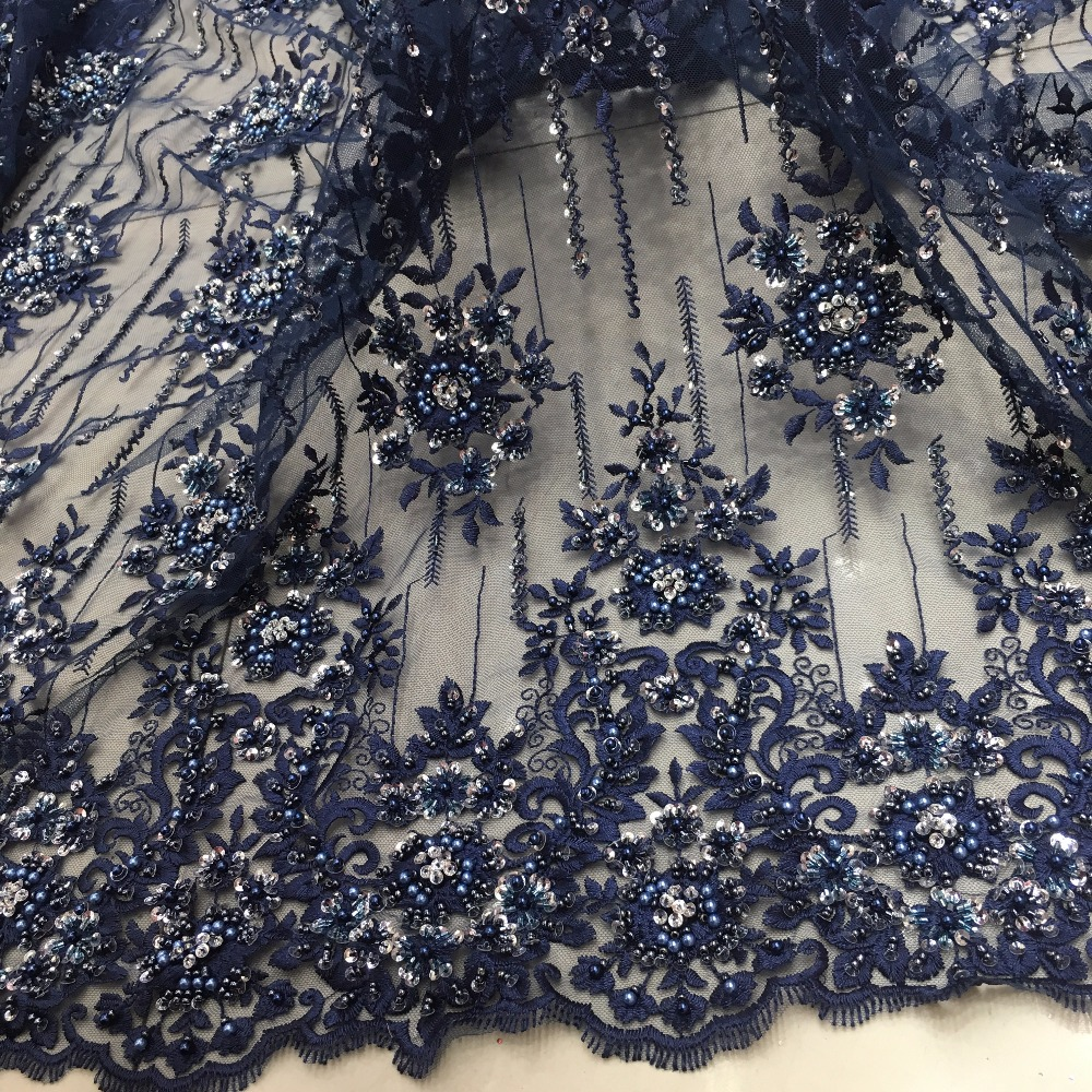 navy blue handmade beads sequins lace fabric royal design 2019 high quality new fashion for sale