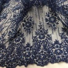 Темно-синие бусинки блестки ручной работы кружевная ткань королевский дизайн 2019 Высокое качество Новая мода для продажи