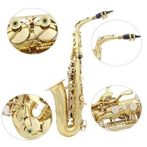 Image 4 - Saxofón Alto de latón Eb saxofón lacado oro con funda de transporte guantes de tela de limpieza cepillo correa para saxofón cepillo para boquilla silenciosa