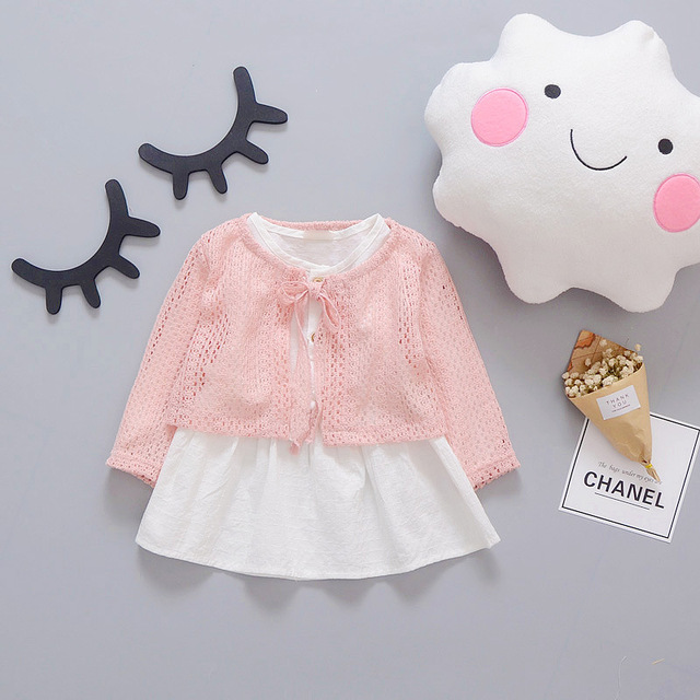 Spring Long Sleeved  Infant Kids Baby Bebe Girls knit cardigan Tops+Dresses Two Pieces Princess Tutu Birthday Party Dress MT1096