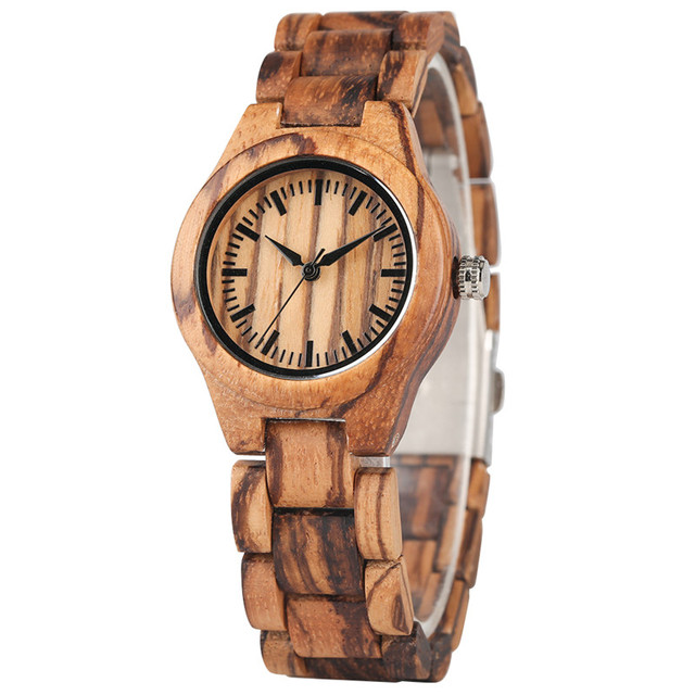 Timekeeper Casual Wood Watch for Women Natural Handmade Elegant Design Walnut Wooden Grain Quartz Watch Movement All Wood Clock | Fotoflaco.net