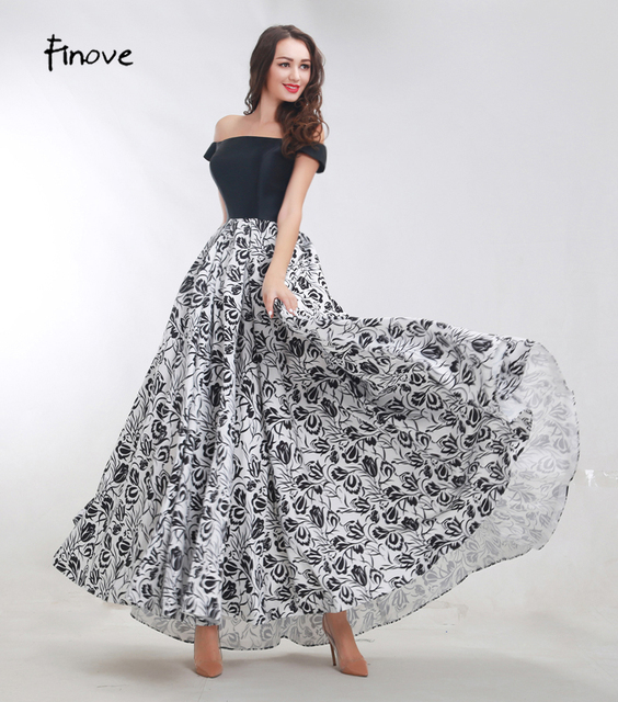 Finove Black and White Prom Dress 2018 New Floral Printing Pattern ...