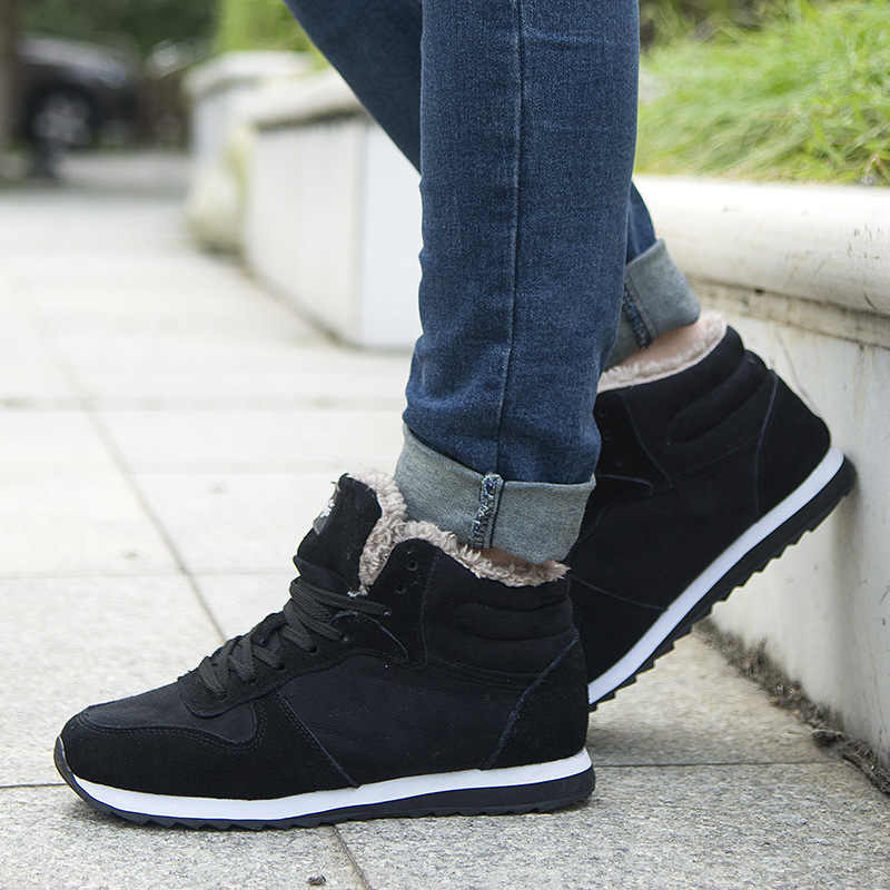 2019 homens sapatos casuais sapatos de pelúcia sólida quente sapatos de algodão masculino tênis de renda de moda masculino calçados ao ar livre