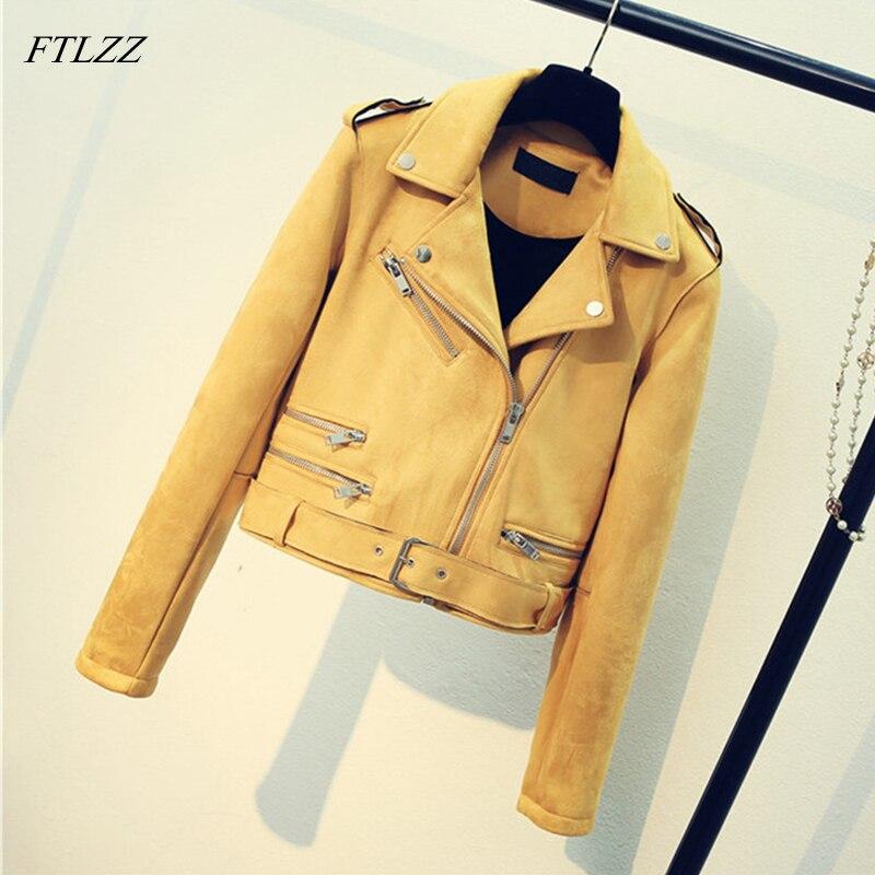 FTLZZ Leather Suede Faux Leather Jacket Women Zipper Belt Moto Jacket Cool Streetwear Lady Leather Jackets Winter Short Coat