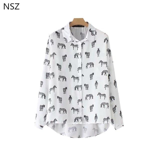d27ae99b606 NSZ Women Chiffon Blouse Long Sleeve Shirt White Top Summer Lady Office Top  Zebra Animal Print Loose Tunics Blusa mujer Camisas