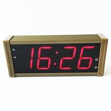 Large display LED digital alarm clock with metal shell EU plug for free electronic calendar desktop clock LCD table clock
