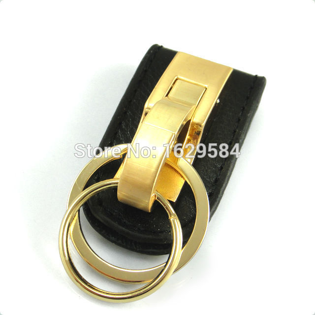 ФОТО 10x NEW Leather Belt Buckle Clip 2 Loops Golden Keychain Key Chain Ring