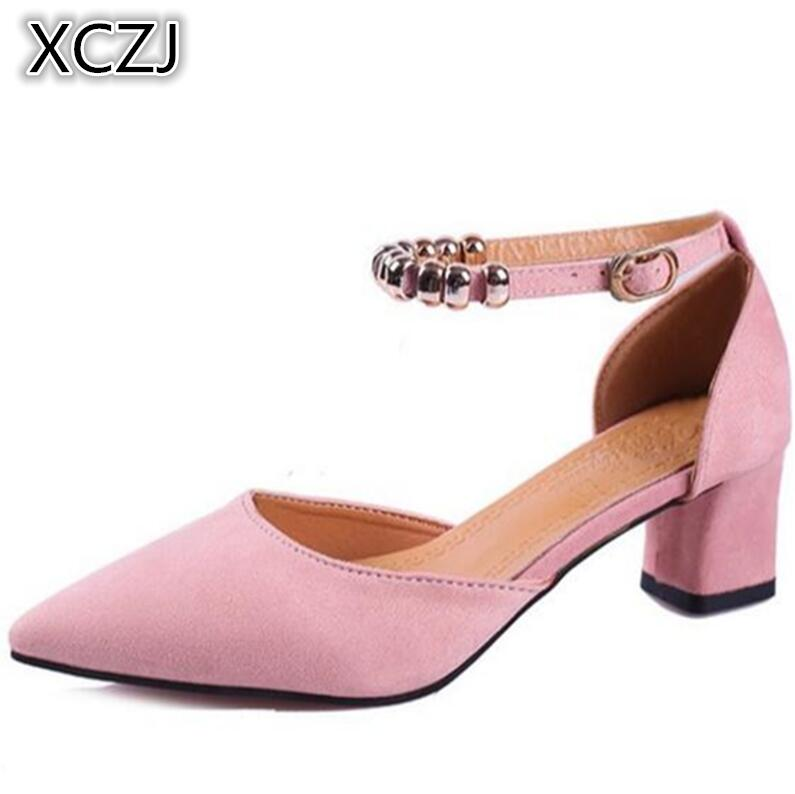 XCZJ 2018 spring shoes new shallow mouth high-heeled shoes pointed wild suede word with a buckle coarse heel sandals female