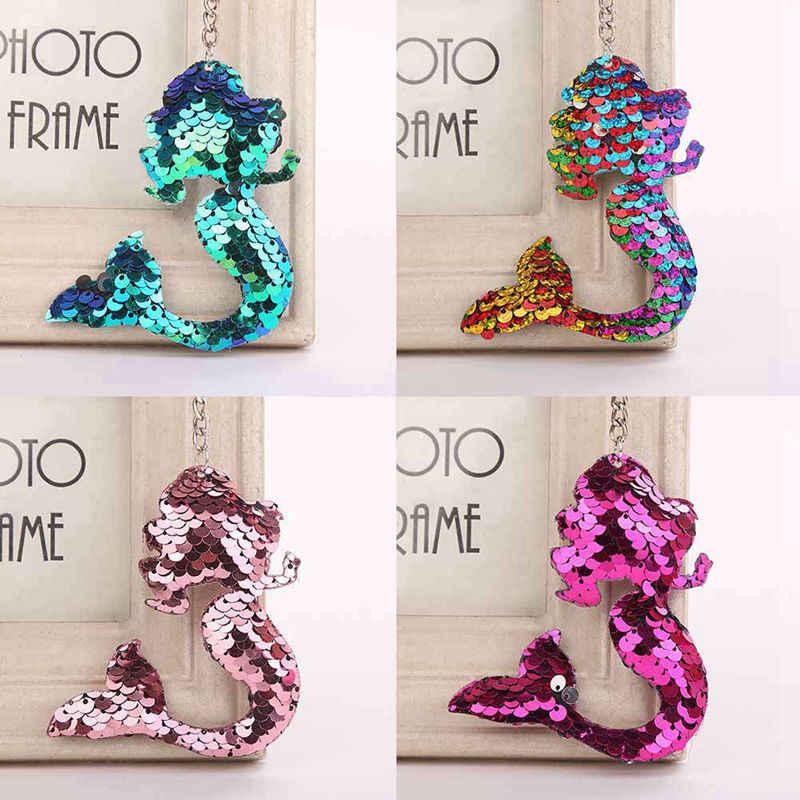 1 шт. блестящие Русалка с блестками, брелки для ключей для женские ювелирные изделия, кулон сумка для автомобильных сумок, подвесные аксессуары на кольцо для ключей ювелирные изделия