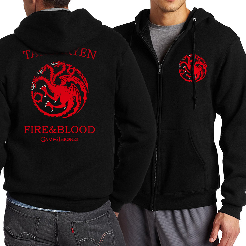 Game of Thrones Zipper Dragon Wolf Cool Printing Zipper Hoodies Hoodie Man Fleece Warm Spring Autumn Tracksuit Casual Sportswear 1
