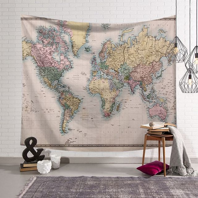 Nordic style vintage world map tapestry wall hanging polyster beach nordic style vintage world map tapestry wall hanging polyster beach towel polyester thin blanket yoga shawl gumiabroncs Images