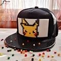 Pikachu pokemon ir ladrillo snap back gorra de béisbol del hip hop sombrero snapback hat para mujeres de los hombres de tapa desmontable bloques de construcción