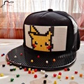 Pokemon Go Brick Pikachu Snap Back Baseball Cap Hip Hop Hat Snapback Hat For Men Women Cap Detachable blocks building