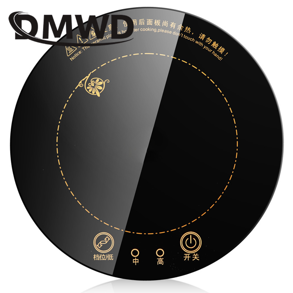 DMWD 1200W Round Electric Magnetic Induction Cooker Wire Control Black Crystal Panel Hotpot Cooktop Stove Cooktop Hot Pot Oven