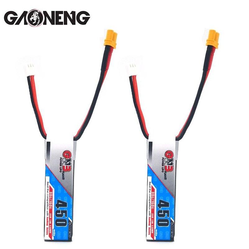 2PCS GaoNeng GNB 450mAh 2S 7.4V 80C/160C Slender Lipo battery with XT30 Plug for betafpv Drone FPV Racing Drone RC parts