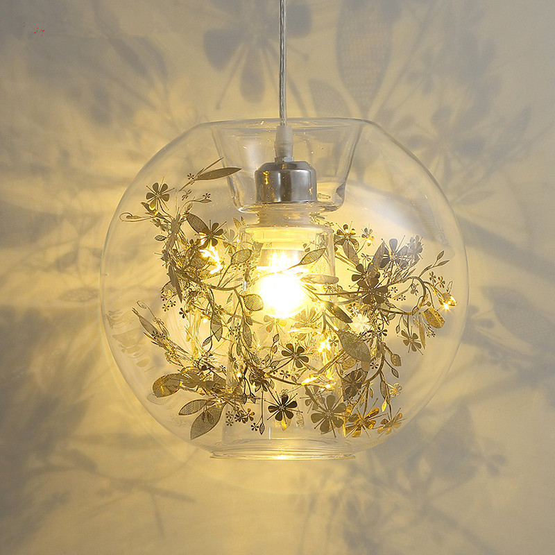 Glass pendant lamp post-modern bedroom lamp creative personality living room lights round single-head restaurant hanging lights lightball three take the glass pendant lights corridor creative bedroom dining living room single head droplight cafe lamp