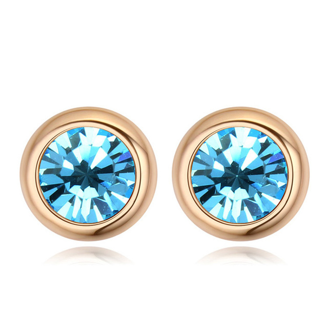 bc92eb87b Crystals From Swarovski Fashion Round Stud Earrings Brincos Jewellery  Bijoux Gold Color Earrings For Women Man