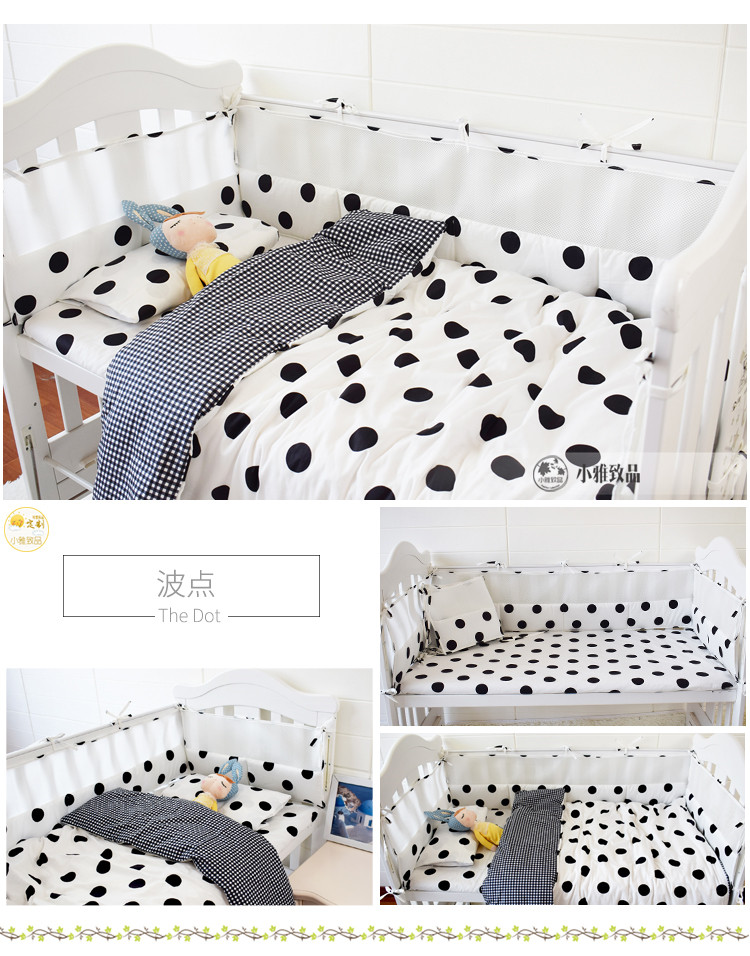 7pcs Cartoon Pattern Baby Crib Bedding Set Breathable Baby Bed Linens Kit Include Bumpers Sheet Duvet/Quilt Cover Pillowcase pastoral birds pattern cushions cover pillowcase