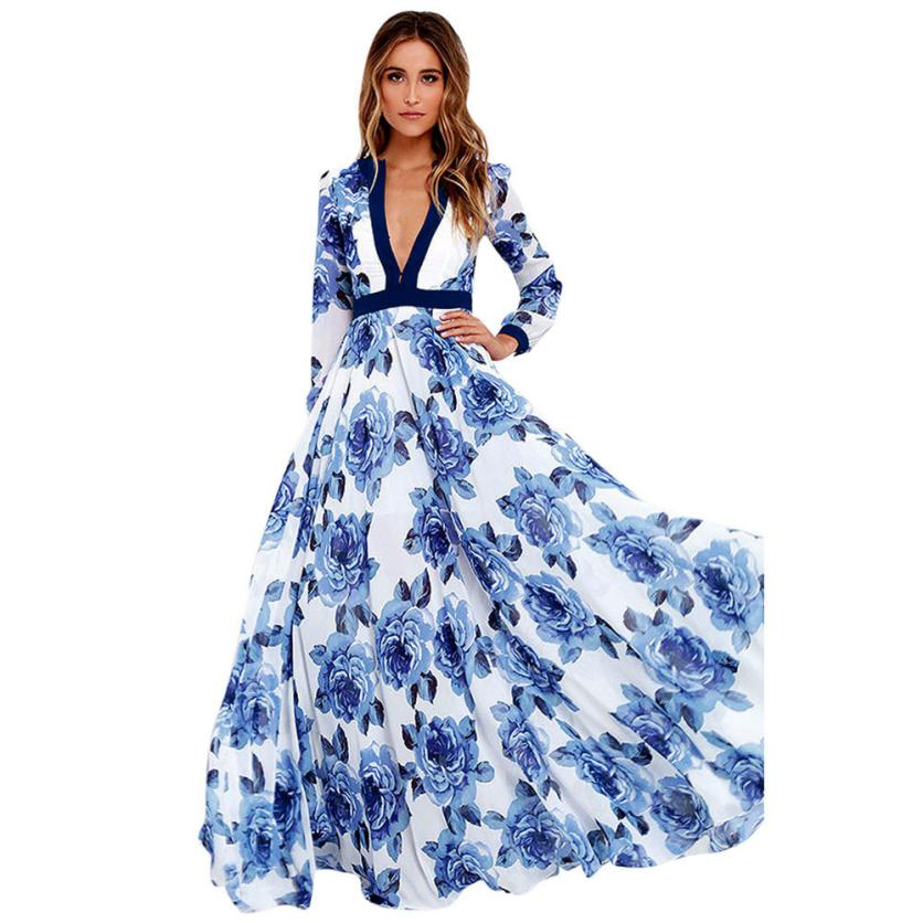 US $15.56 19% OFF|Plus Size Party Dresses 2018 Evening Party V Neck Long  Sleeve Elegant Floral Floor Length Maxi Dresses Vestido Longo De Festa-in  ...