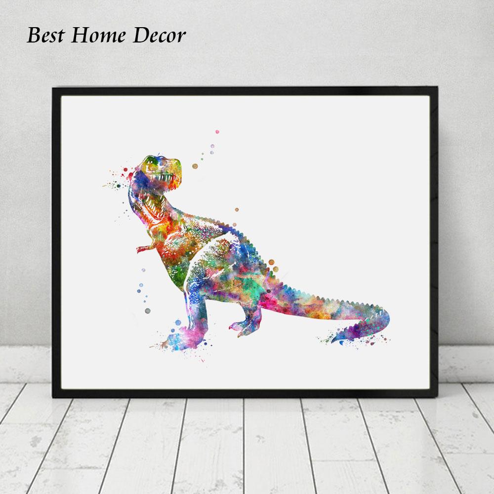 Dinosaur suluboya sənəti afişası Dinosaur Divar İncəsənəti - Ev dekoru - Fotoqrafiya 1