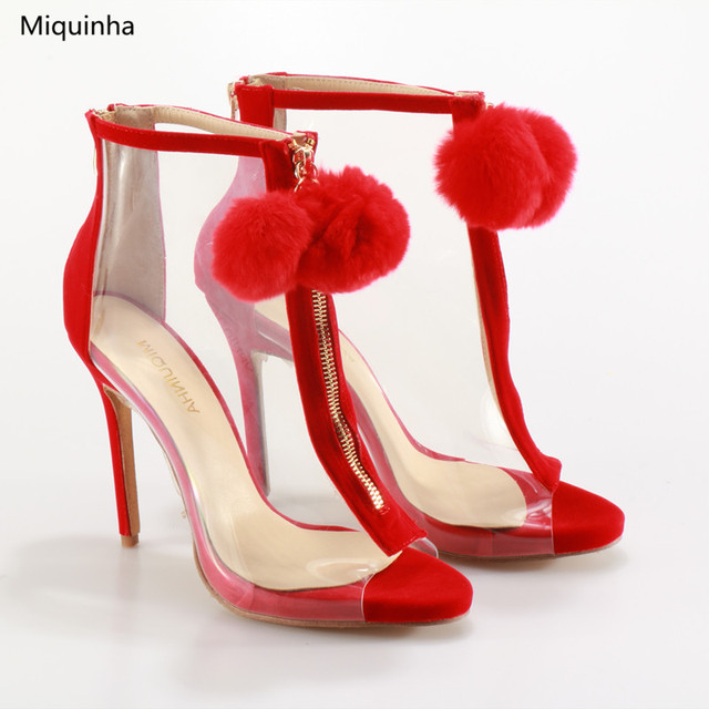 76b81246c6ac Sexy Clear PVC Peep Toe Sandals Boots Red Fur Ball Front Zip Stiletto High  Heel Ankle Boots Runways Fashion Shoes Women Big Size
