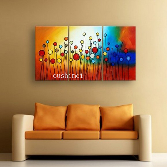 100% Hand Painted Circle Colorful Flowers Abstract Landscape Wall Home  Decor Oil Painting On Canvas