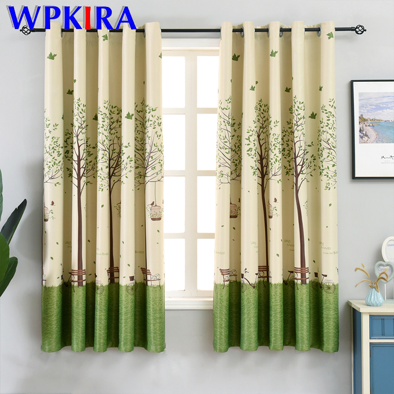 Short Curtain For Kitchen Window Treatment Door Modern Prined Cartoon Tree Shade Curtain For Kids Room Living Room Drapes P003D4