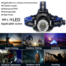 5000 Lumens Led Leadlamp Cree XM-L T6 / L2 Led Headlights Lantern 4 Mode Waterproof Torch Head with 18650 battery charger Newest