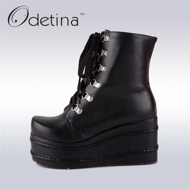 Connu Odetina Femmes Semelle Épaisse Moto Bottes Chaussures Haute  AX49