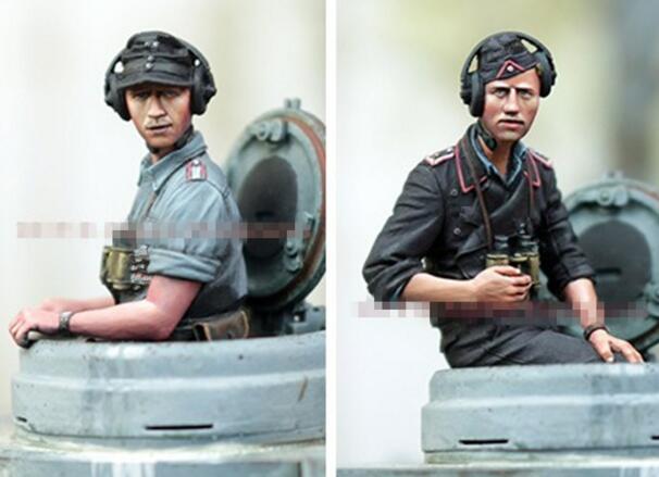 1/35 Kits de Resina Tanque Alemão Soldados 2 pçs/set, o corpo inteiro (sem tanque)