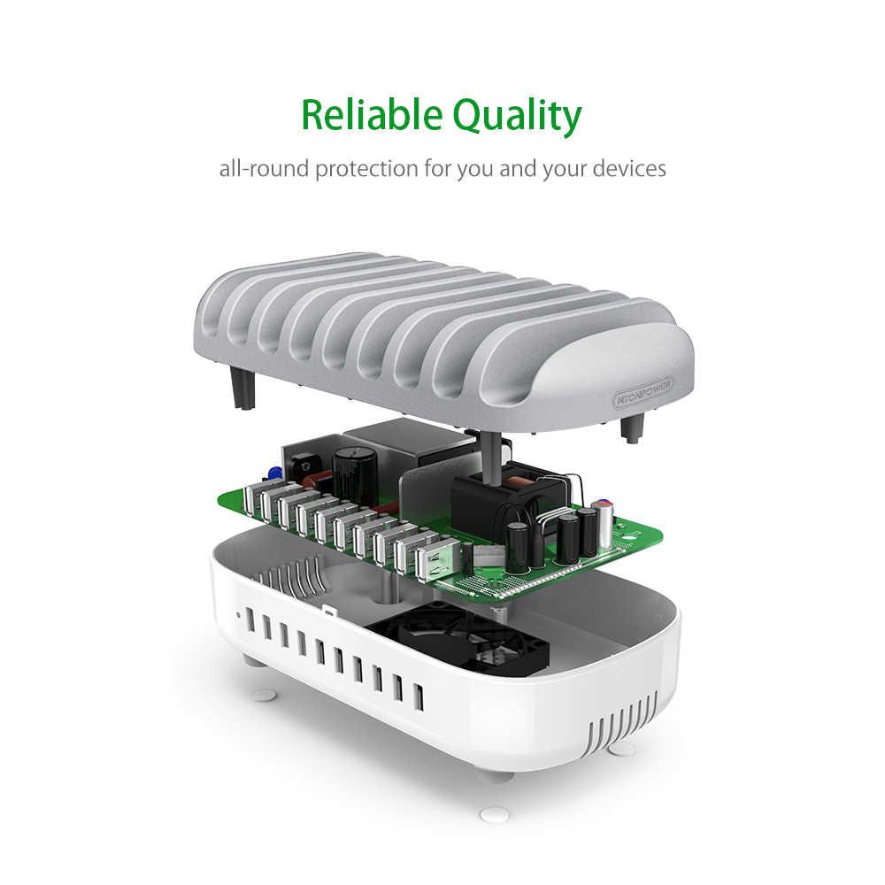 NTONPOWER سطح المكتب USB متعدد المنافذ حامل محطة شحن مع حامل هاتف المنظم 10 منافذ 2.4A شحن سريع لباد/آيفون/شاومي