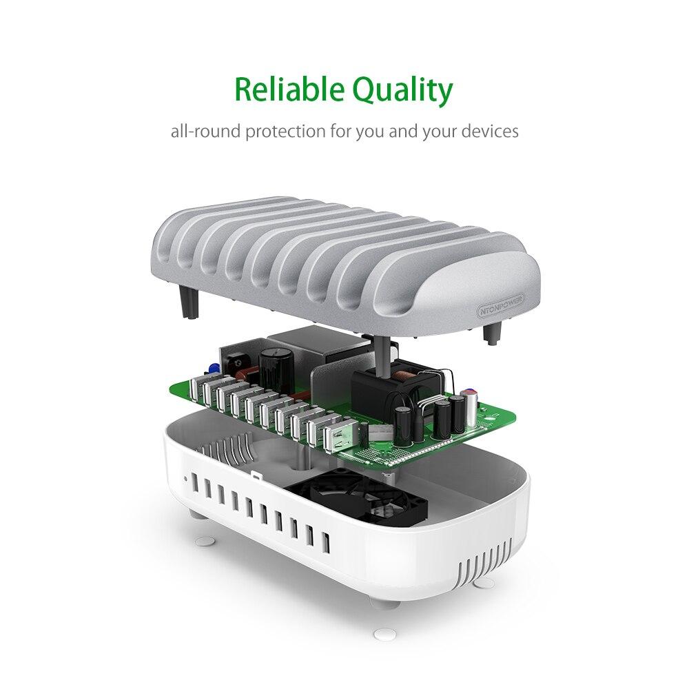 Station de chargement Multi USB de bureau NTONPOWER avec support pour téléphone organisateur 10 Ports 2.4A charge rapide pour iPad/iPhone/Xiaomi - 4