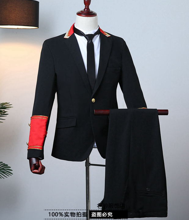 Freeship mens air force captain military cosplay uniform jacket and pants stage performance studio suit asia