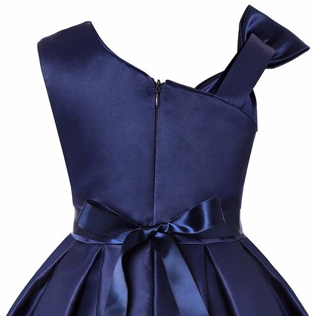 Dark Blue Kids Tutu Birthday Princess Party Dress for Girls Infant Lace Bow Children Elegant Dress for Girl Baby Girls Clothes