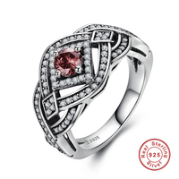 Punk Vintage Weave Geometric Ring Authentic 925 Sterling Silver Rings For Women Jewelry
