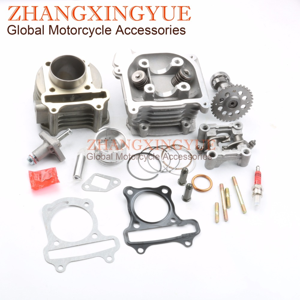 80cc Big Bore Performance Kit & 9 Hole Cam & Tensioner & Rocker Assy for GY6 50cc 139QMB Chinese Scooter Parts 47mm Bore new set 47mm big bore kit cylinder piston rings fit for gy6 50cc to 80cc 4 stroke scooter moped atv with 139qmb 139qma engine