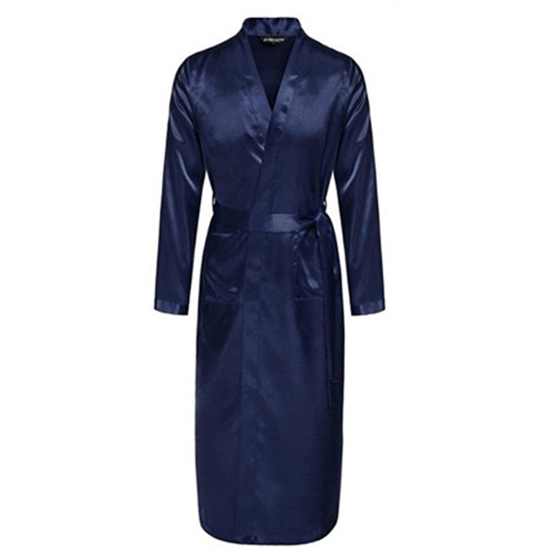 Navy Blue Chinese Men Silk Rayon Robe Summer Casual Sleepwear V-Neck Kimono Yukata Bathrobe Gown Size S M L XL XXL