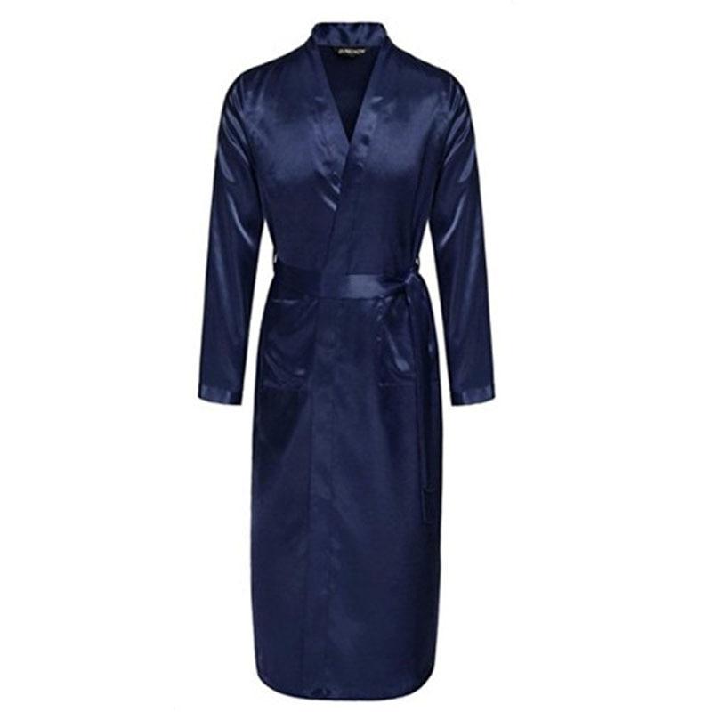 Navy Blue Chinese Men Silk Rayon Robe Summer Casual Sleepwear V-Neck Kimono Yukata Bathrobe Gown Size S M L XL XXL