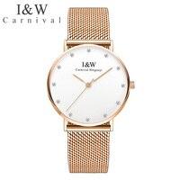 I & W Ультра тонкие часы для влюбленных для мужчин для женщин Карнавал кварцевые наручные часы сапфировое стекло Дамы для мужчин s часы