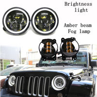 7 LED Super Bright Headlight DOT Projector Daymaker Waterproof 4 Fog Lamp Amber Beam Lights For
