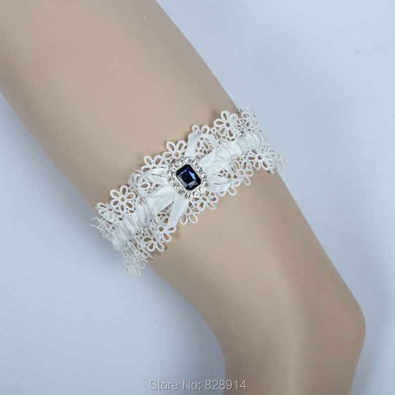 Navy Blue Crystal Stone Lace Bridal Garter For Wedding